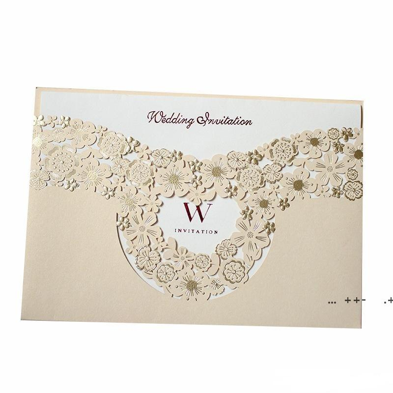 Marry Invitation Card Hollowing Out Greeting Cards Gold Wedding Decorate Supplies Creative Photo Special Cardboard FWE9407