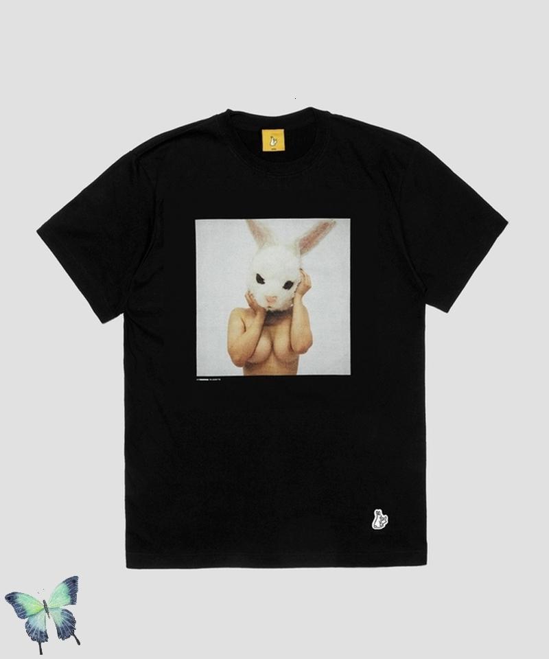 Sommer 2021 New Japan Style # FR2 Bunny Kopfbedeckung Druck T-Shirt Männer Frauen Mode Streetwear T-Shirt Gestrickt Zwei T-Shirts B3V8 BF9Y