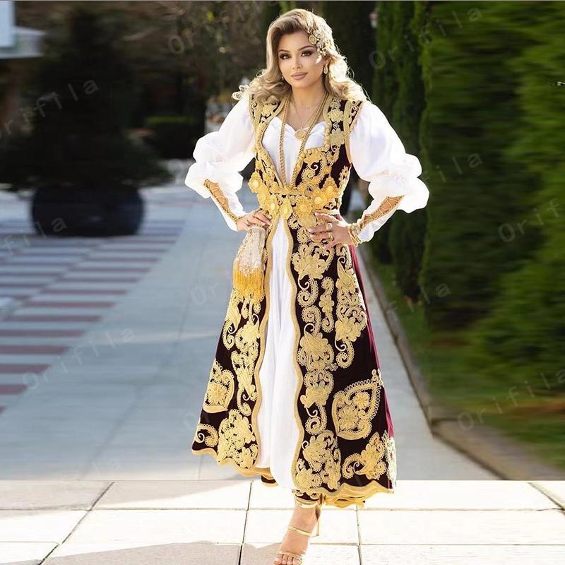 Традиционные косово Албанские брдиальные белые вечерние платья для женщин вечеринки развлеченные рукава кружева Appleque de soion de mairse l0312