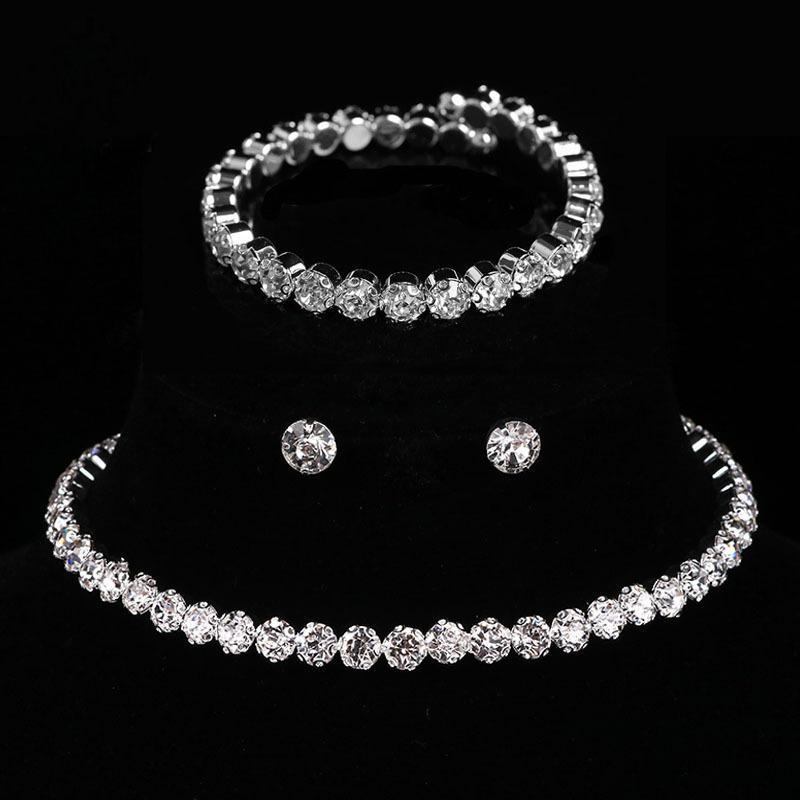 Корейский невесты блестящие ювелирные изделия круглые бриллиантные браслеты серьги ожерелье из трех частей набор