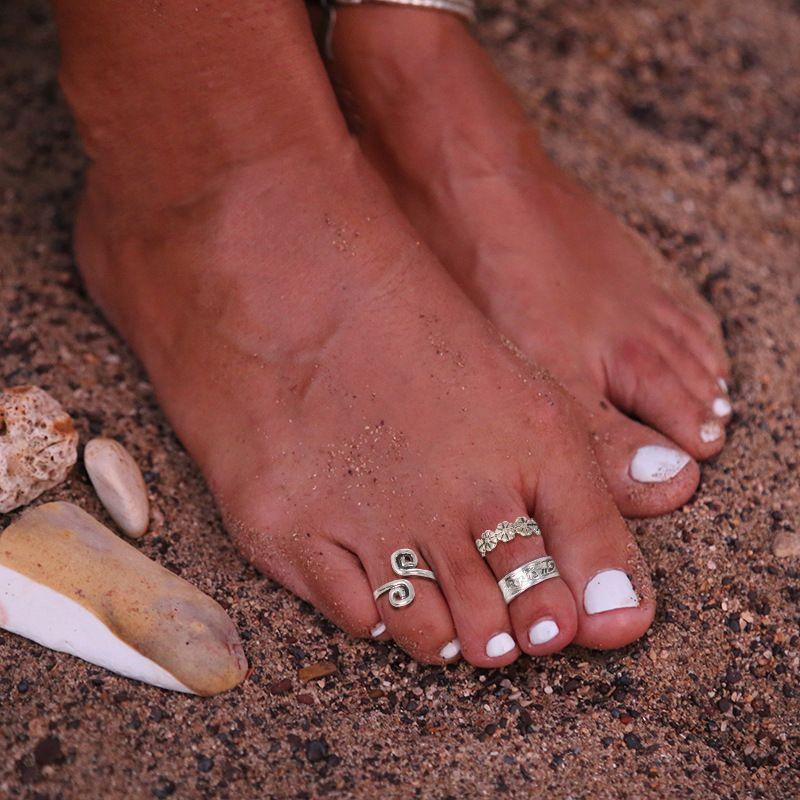 Zarif Kadınlar Gümüş Toe Yüzük Ayak Ayarlanabilir Plaj Takı Plaj Moda Show Retro Tarzı Vücut Moda Takı 199 Q2