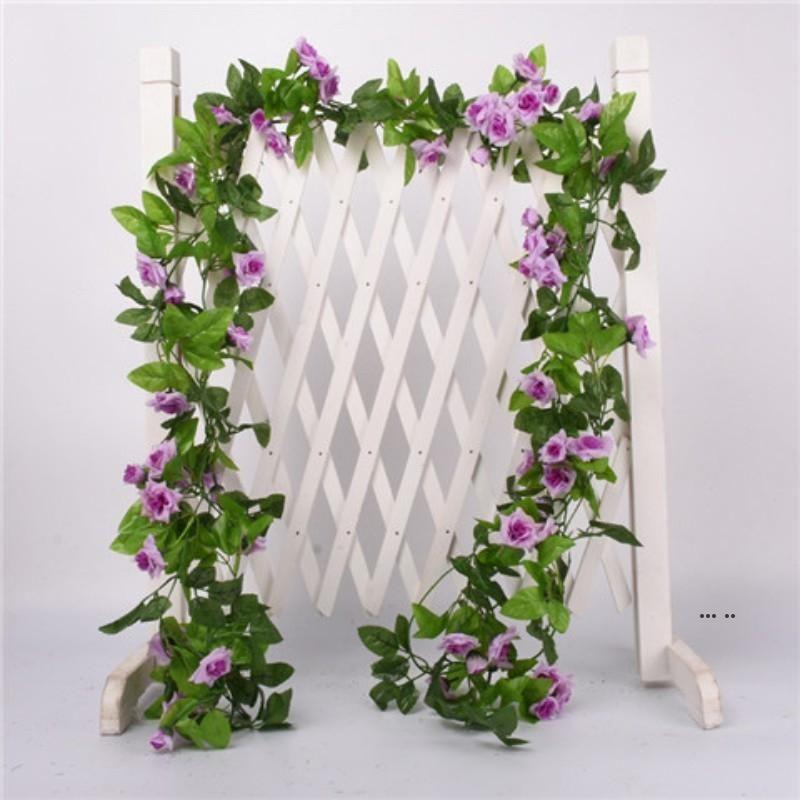 Искусственная цветочная виноградная лоза поддельных шелк роза плющ цветок для свадебных украшений искусственные лозы висит гирлянда домашнее декор EWF5672