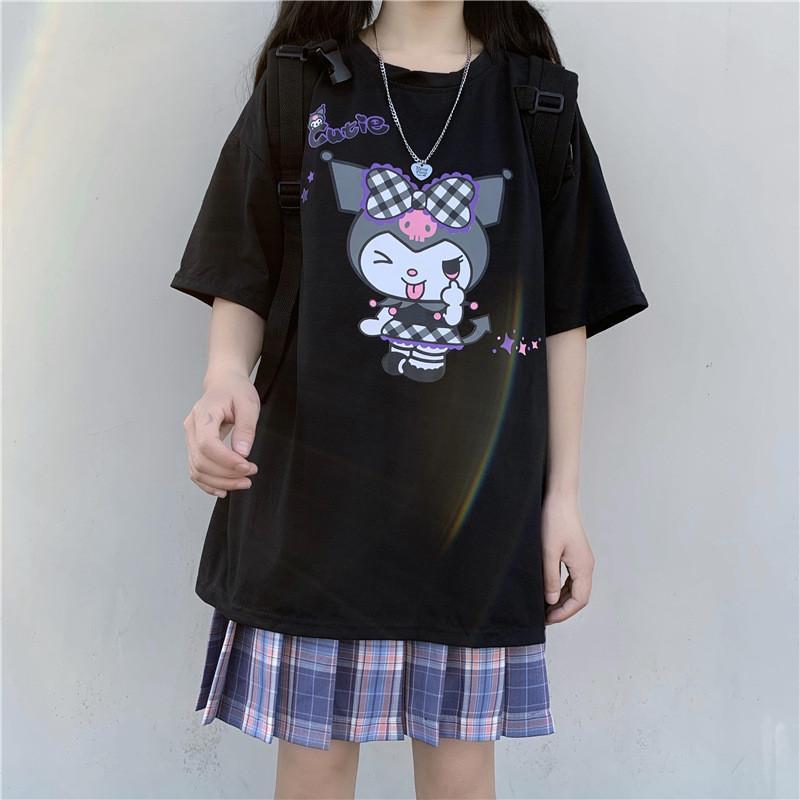 Harajuku dessin animé mignon imprimé drôle manches courtes kuromi t-shirt femmes hauts tops estival streetwear o-cou hweet filles tee shirt c0220