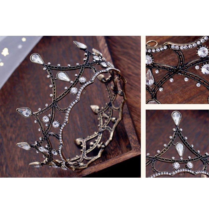 Vintage Rhinestone negro Crystal Bridal Tiaras Crown Pageant Women Diadem Headpiece Joyas Accesorios para el cabello de la boda JL