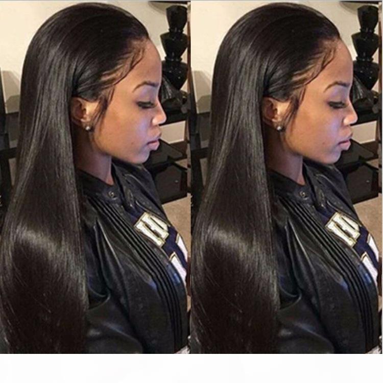 Perruques européennes et américaines élégantes avec franges et perruques de dentelle femmes avec des cheveux noirs longs droits et des fibres chimiques.