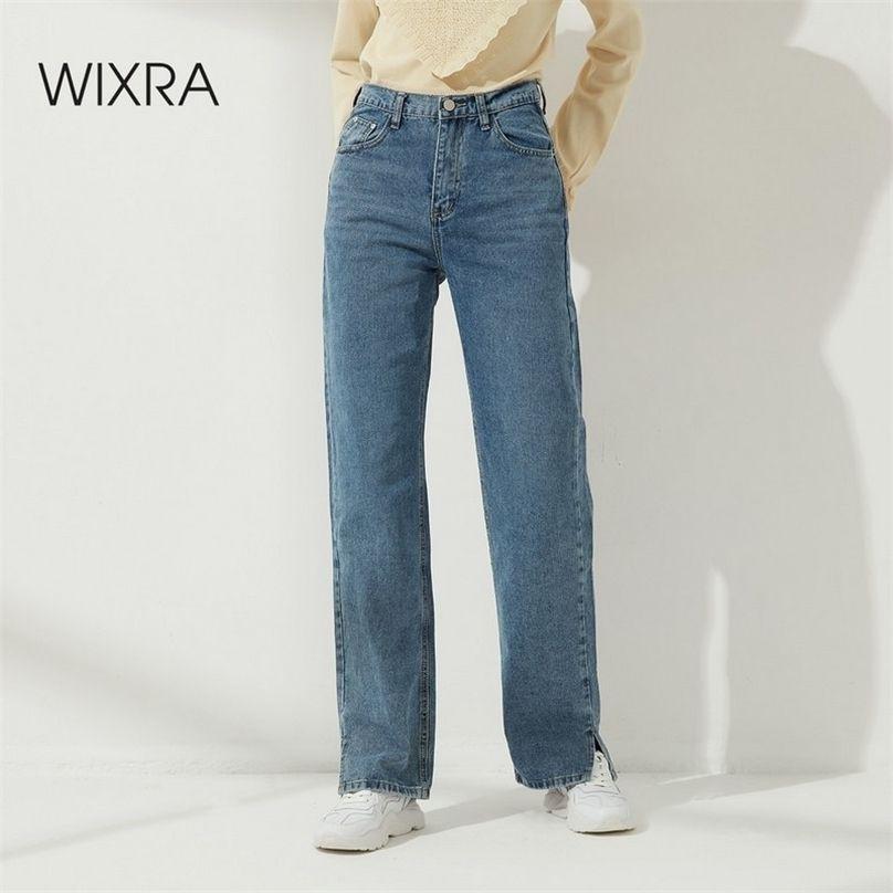 Wixra Side Opening High Waist Jeans Women Streetwear Straight Jean Femme Blue Black 100% Cotton Cargo Denim Pants 210720
