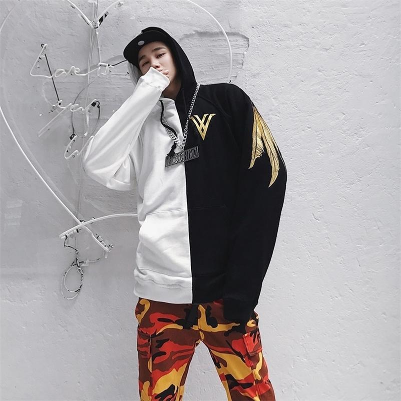 Bordado de penas moletom com capuz hoody headwear hoodie outono hip hop streetwear roupa lj201222