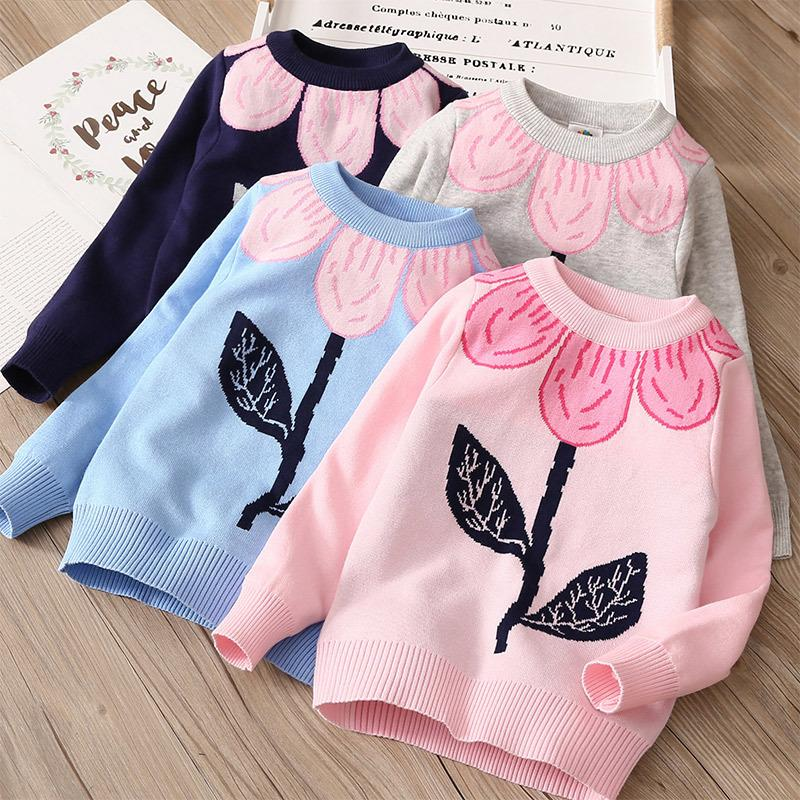 Otoño Invierno 3-10 años Ropa infantil para niños O-cuello de manga larga flor floral bebé niña de punto suéter 210202