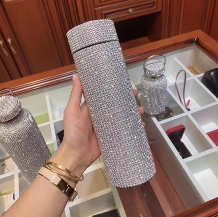 500 ml Diamante creativo Thermos Botella de agua Botella de agua Acero inoxidable Smart Temperatura Mostrar matraz de vacío Taza Regalo para hombres Mujeres DHL