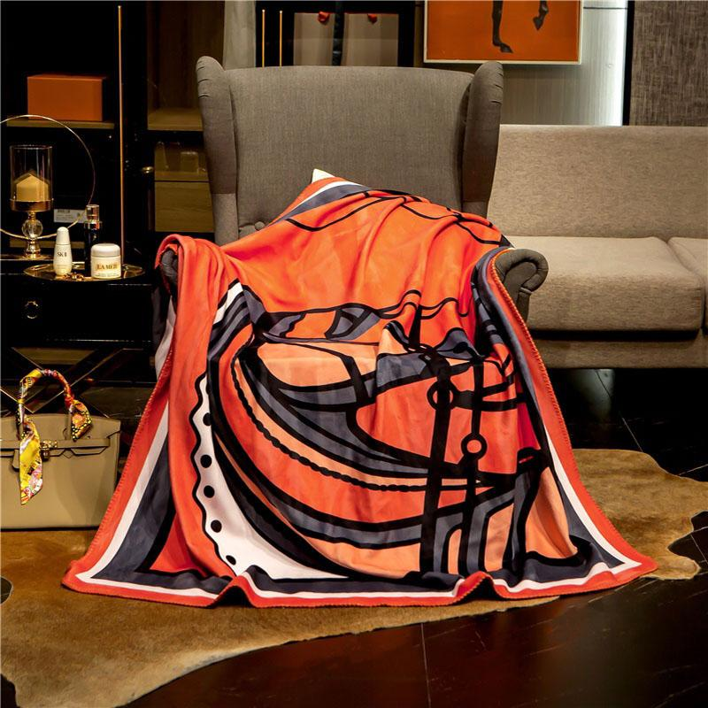 European style Luxurious designer blanket Double layer fox fleece blanket creative patterns bedding quilt shawl with gift box
