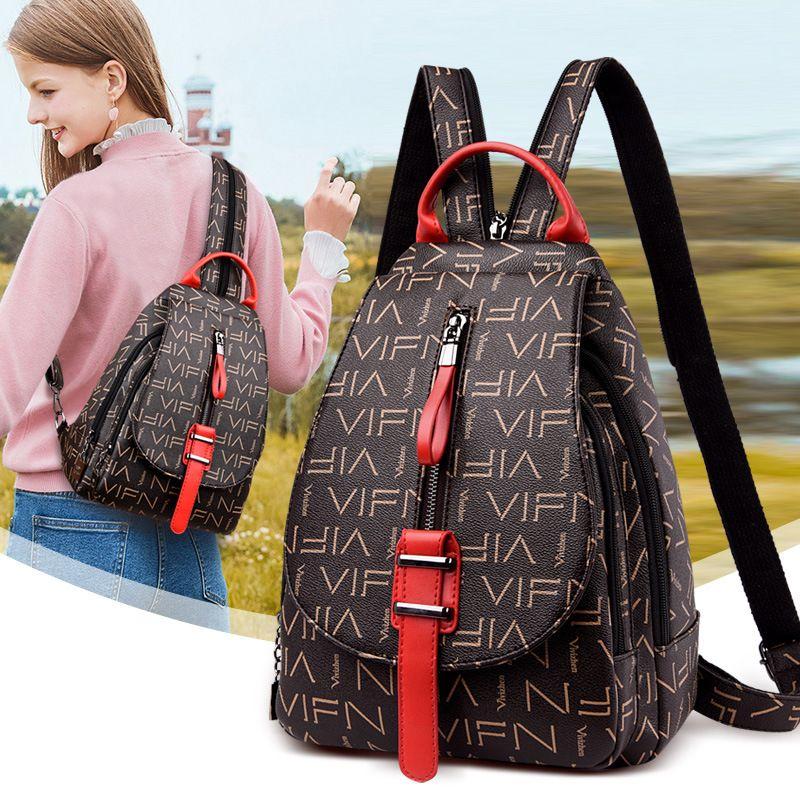 2021 Genuine Leather Backpack Leisure backpack lady travel bag Small big capacity Handbag Woman bag Style Fashion Bags Mini School Bags