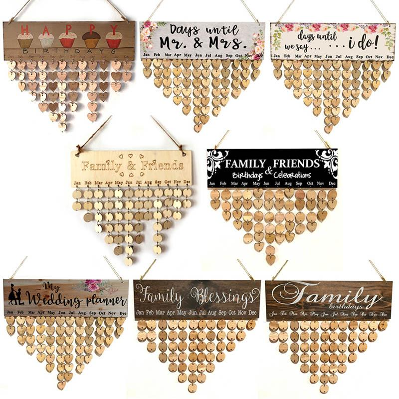 Wood DIY Friend Family Birthday Reminder Calender Board Anniversary Tracker Plaque Wall Hanging Calendar Hanging Decorations