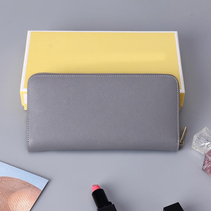 박스 카드 쓰레기 가방 패션 여성 지갑 정품 가죽 긴 지갑 단일 지퍼 클러치 지갑