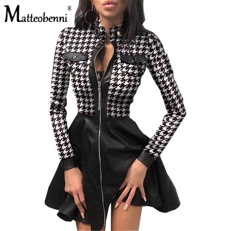 2021 Новая осень зимняя мода с длинным рукавом V-образным вырезом молнии PU кармана короткое кружевное мини-сексуальная напечатанная вечеринка женская одежда OW8Q