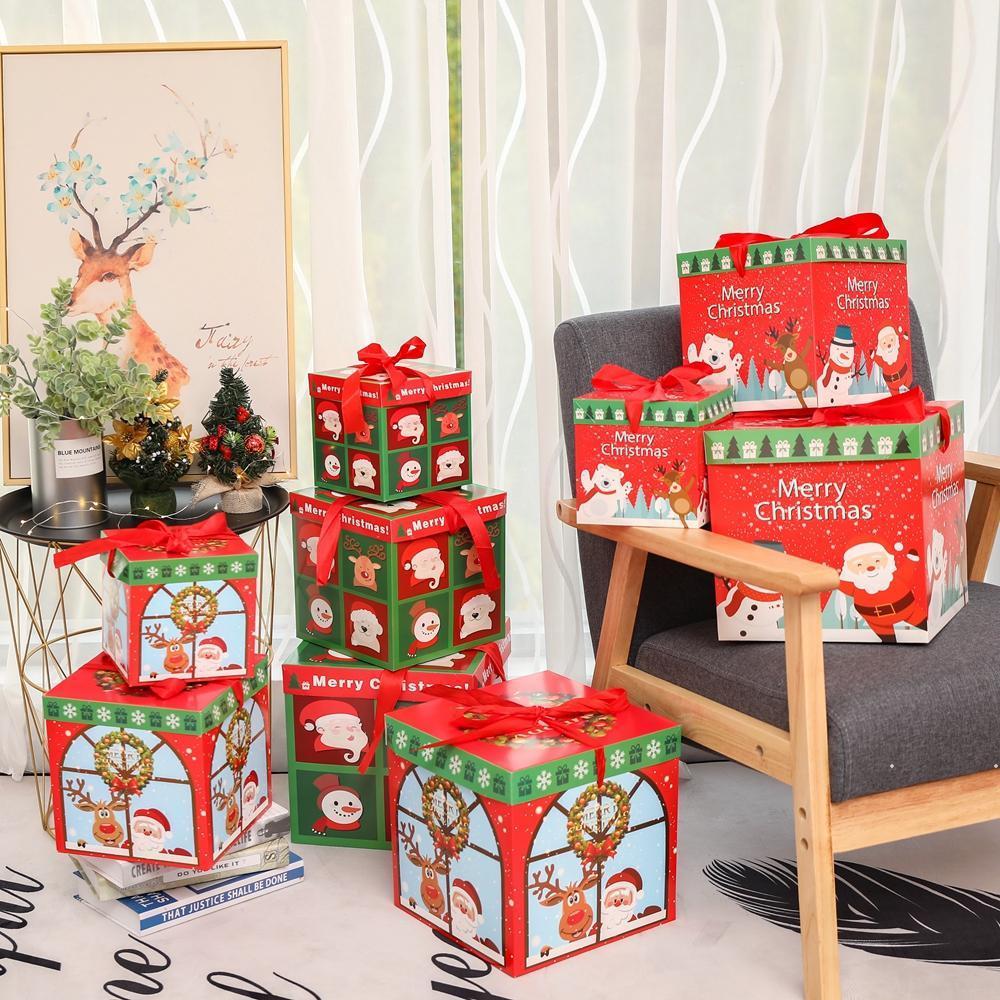 3 unids / lote DIY Regalo de Navidad Caja de regalo Familia Candy Chocolate Decoración de Navidad Personalidad Regalo Embalaje Ventana de Navidad Porps FWF7352