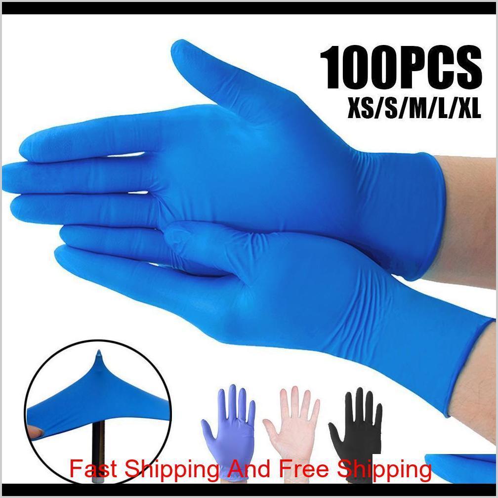 США стоковые синий нитрил одноразовые перчатки без порошок (не латекс) - пакет из 100 шт. Перчатки против заноса анти-ACI QYLGWD BNENET
