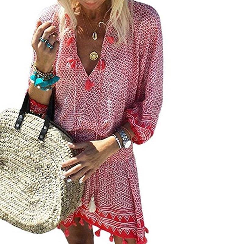 Women Dress 2021 Spring Summer Plaid Boho Short Dresses with Fringes Vestido Comfortable Free Shipping Cheap Dress