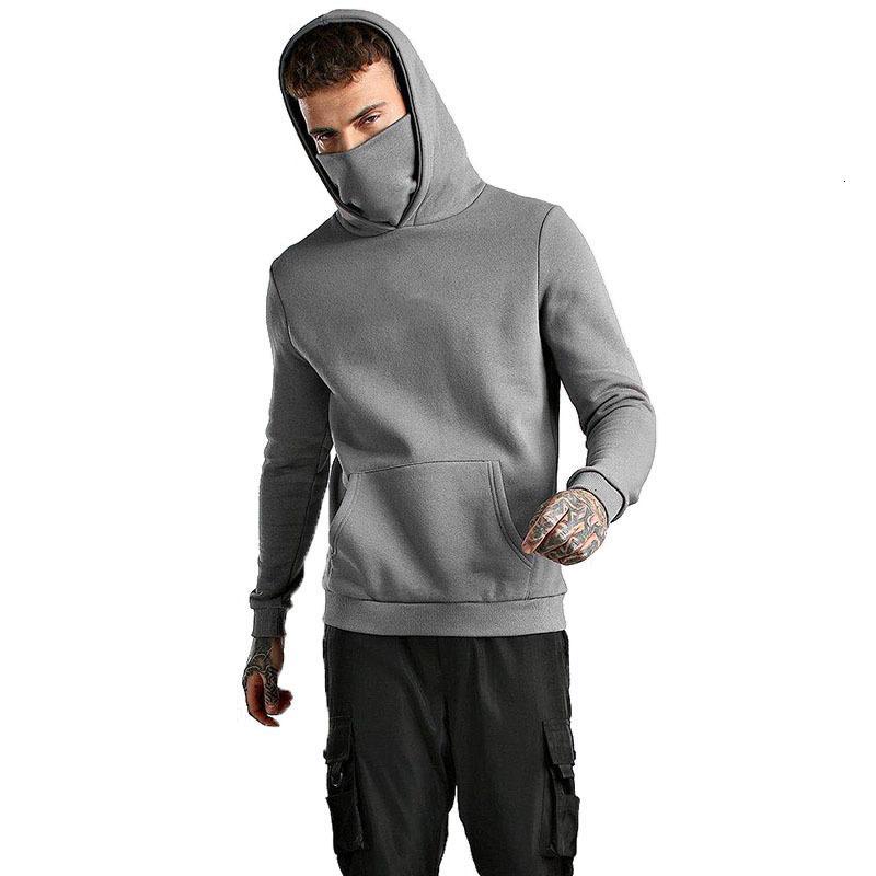 Long Pockets Color Slim Mens Hoodies Pure Sports Mask Big Hooded 2021 Tops Pullovers Shirts Sleeve Seatshirts Turtleneck Male Y1cv Mejex