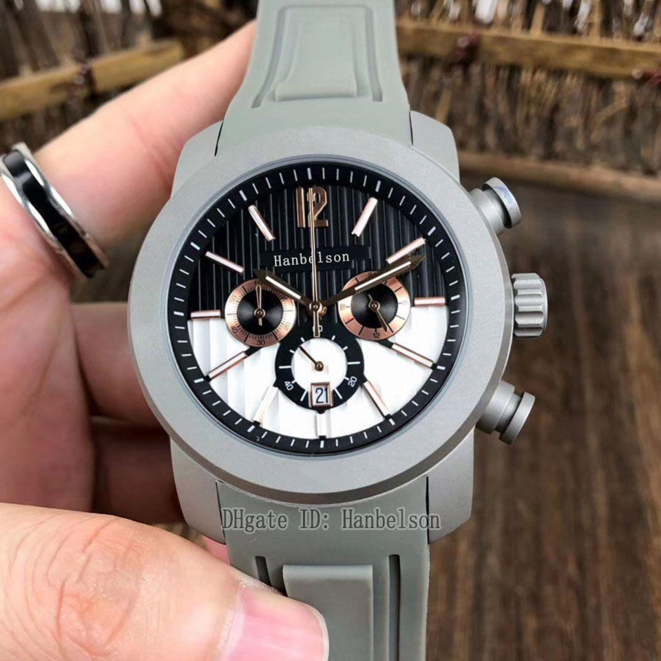 Montre de Luxe Erkek İzle Kuvars Hareketi Titanyum Çelik Spor Gri Kauçuk Kayış Relojes Lujo Para Hombre İki Ton Dial Chronograph Saatı