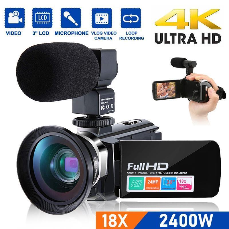 Новый 2400W1080P цифровой видеокамеры рекордер 18x Zoom видеокамера ночного видения DV с микрофоном, широко видение объектива