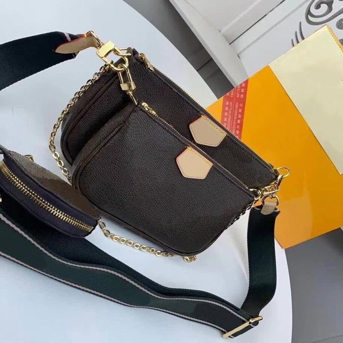 Lüks Moda Omuz Çantaları Çok Pochette Accessoires Çantalar Kadınlar Marka Tasarımcısı Favori Mini 3 adet Set Kombinasyon Çanta Crossbody Çanta Kutusu Ile