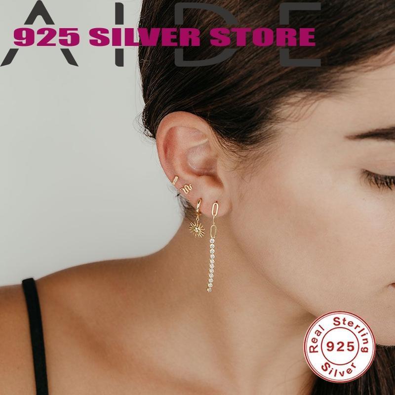 Aide Creolen Ohrringe für Frauen 925 Sterling Silber Pendientes Sonnenförmige Kreative Einfachheit Piercing Feingeschenk für Damen Mädchen