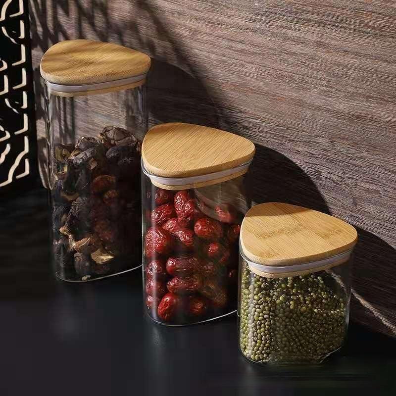 زجاجات التخزين الجرار 600-1250 ملليلتر الإبداعية مثلث الزجاج جرة شفافة مطبخ مربع وجبة خفيفة السكر حاوية حبوب القهوة مع غطاء