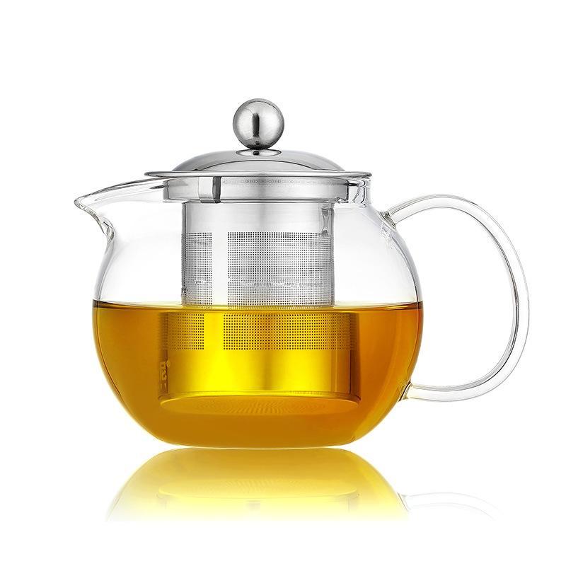 Hitzebeständige Glas Teekanne Blume Set Puer Kessel Kaffee Teekanne Bequem mit Infuser Büro Home Teetasse
