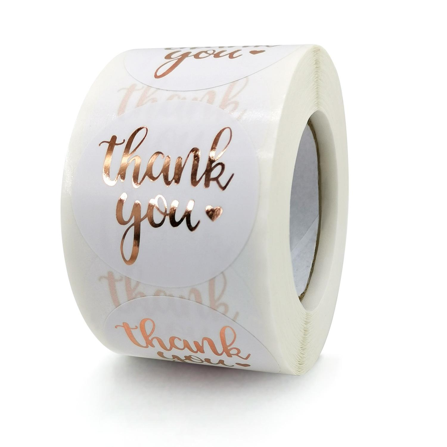 3.8cm 1.5inch Circle Rose Pink Foil Thank You Sticker Label Christmas Gifts Package Self Seal Packing Stickers for Friends Colleagues
