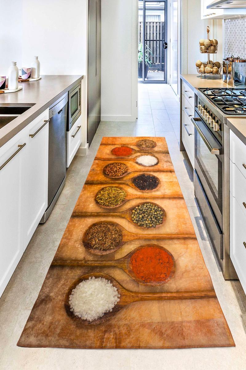 Bonny ev 3D baharat desen kaymaz deri taban mutfak rug kilim koşucu