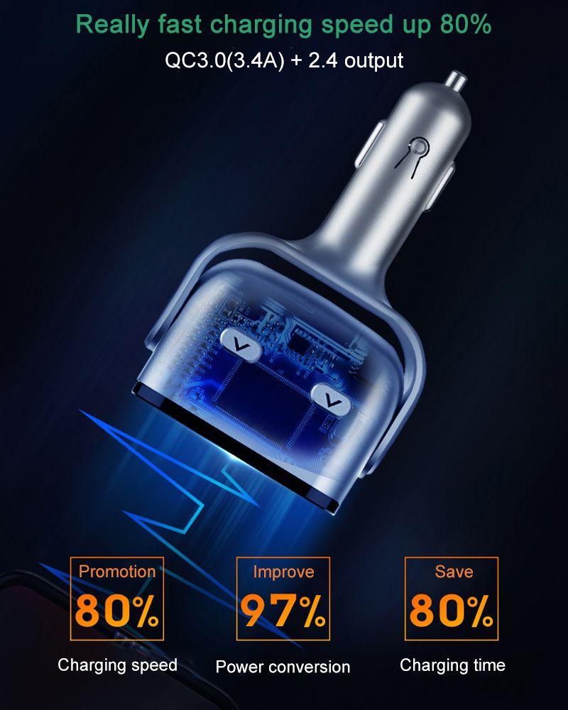 QC3.0+ 2.4A Dual USB Ports Car Cigarette Lighter Splitter Socket Adapter LED Voltage Monitor Auto Car Charger USB Plug Converter