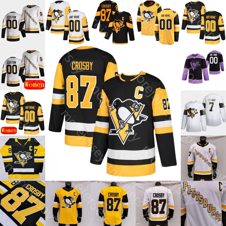 2021 Pittsburgh Penguins Buz Hokeyi Jersey Mark Jankowski Pierre-Olivier Joseph Kapanen Sam Lafferty Lagace Marino Matheson McCann O'Connor
