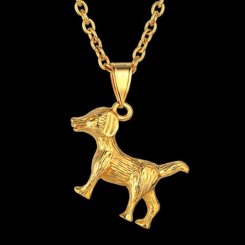 Bayan Erkek Köpek Kolye Kolye Hip Hop Küba Zinciri Hip Hop Hayvan Kolye Erkek için Altın Takı