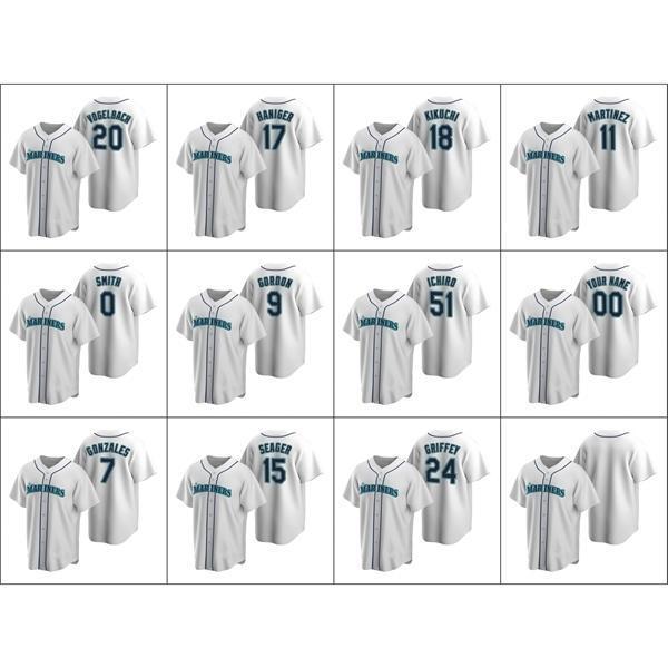 Seattle \ Rmariners homens # 24 Ken Griffey 51 Ichiro Suzuki 15 Kyle Seager 9 Dee Gordon Mulheres Personalizadas Juventude White \ Rreplica \ Rhome Jersey