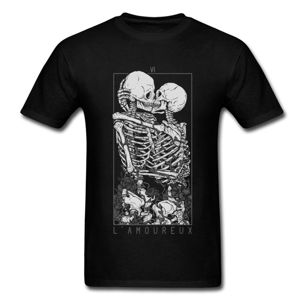 Cranio me baciare le magliette abbraccio gli amanti dolce puro cotone cotone scheletro skull t shirt uomo di Pasqua giorno morte punk style t shirt LJ200827