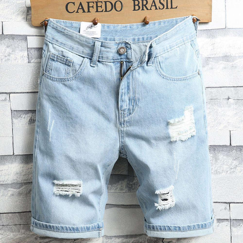 Pantalones cortos de mezclilla marca de moda de hombre instina ilumina blanca holedaje de 5 puntos pantalones pantalones media ropa de verano medio suelto