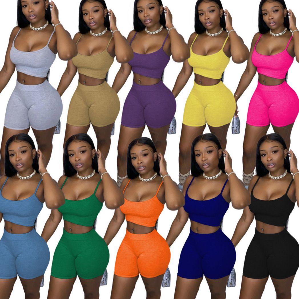 Летние женские 2 шт. Набор шорты наряды трексуита дизайнер сплошной цвет повседневные женские одежды сексуальные подтяжки топы костюм плюс размер 1103