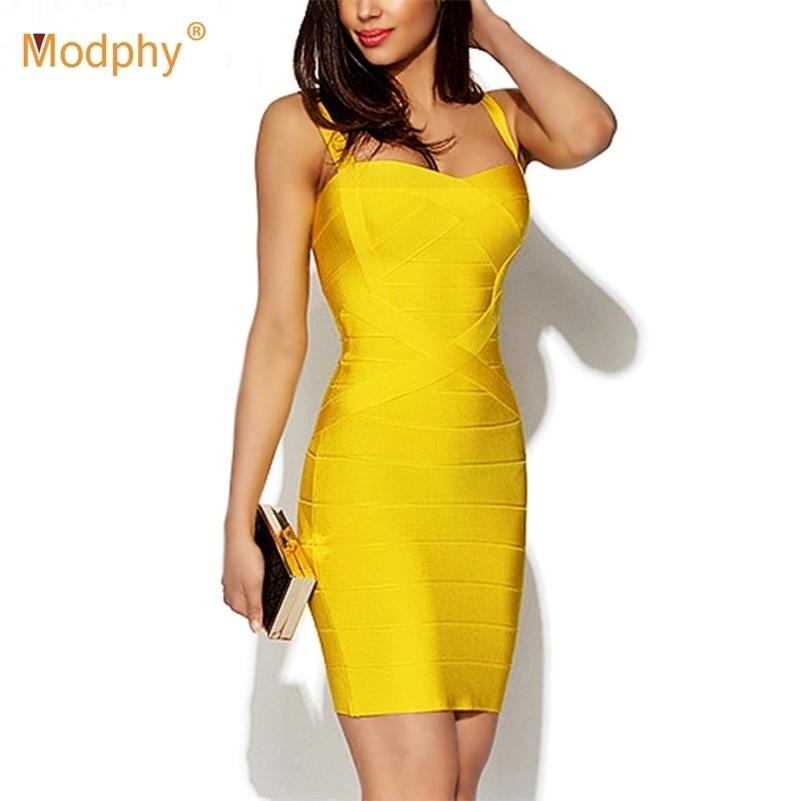Nuove donne Sexy Spaghetti Strap Rayon HL Elastico Elastico Celebrity Bendage Dress BodyCon Mini Club Dress Dress Dress Drop Ship 210303