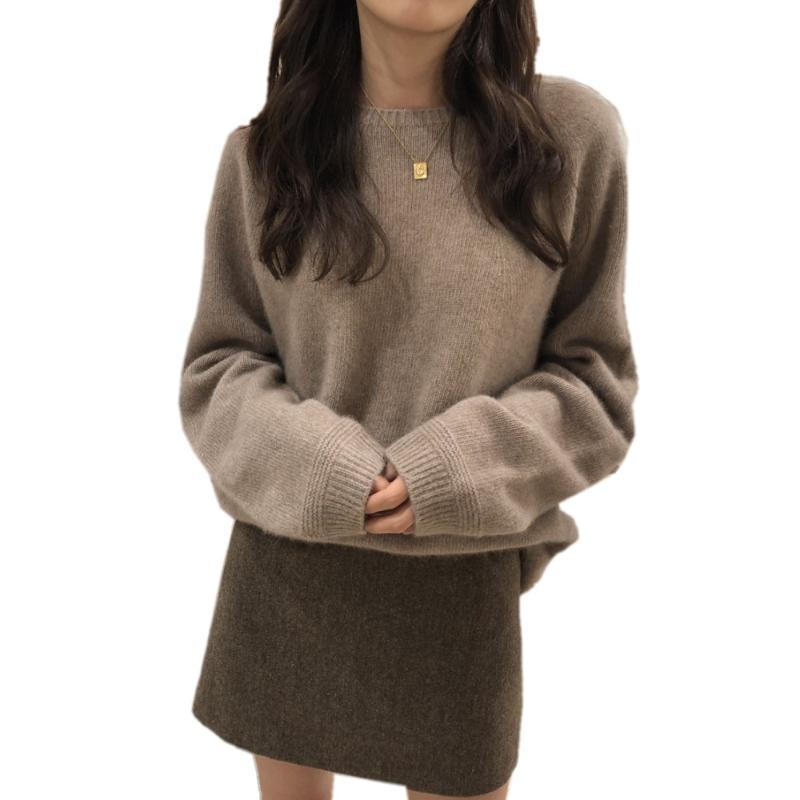Suéter de lana de las mujeres sueltas redondas de las mujeres suéter de las mujeres de la manga larga de la manga larga de las tapas de punto