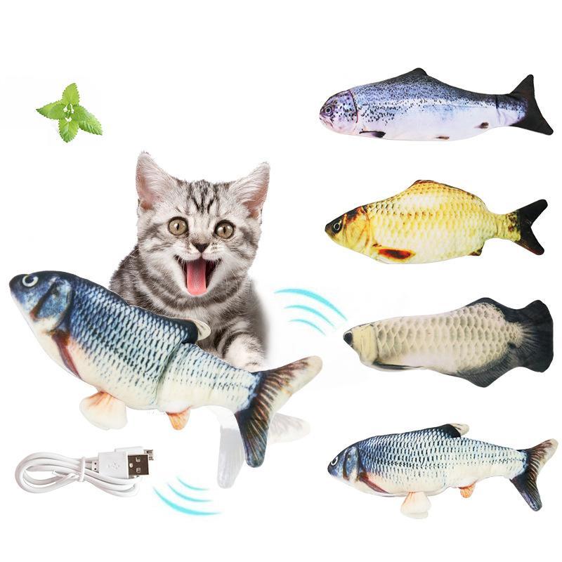 애완 동물 부드러운 플러시 전기 물고기 모양 고양이 물린 장난감 양방향 선물 물고기 Catnip 장난감 시뮬레이션 물고기 장난감 W-00714