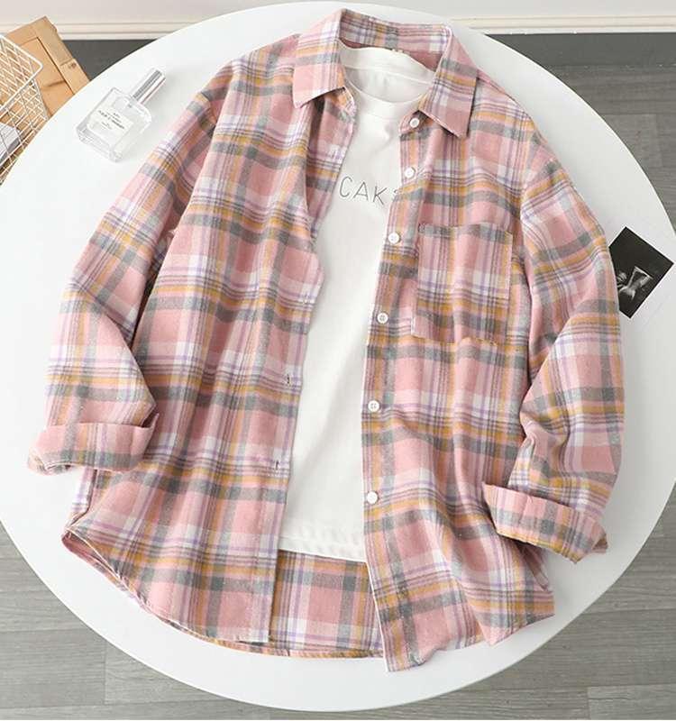 Kids plaid shirt girls lapel long sleeve lattice blouse autumn children cotton casual tops A7938