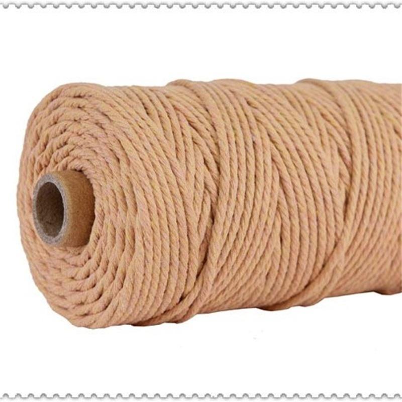 3 мм 100% хлопковый шнур красочный шнур веревка бежевый витой ремесло макраме струны DIY дома новая текстильная свадьба декоративная поставка 110yyards 49 S2