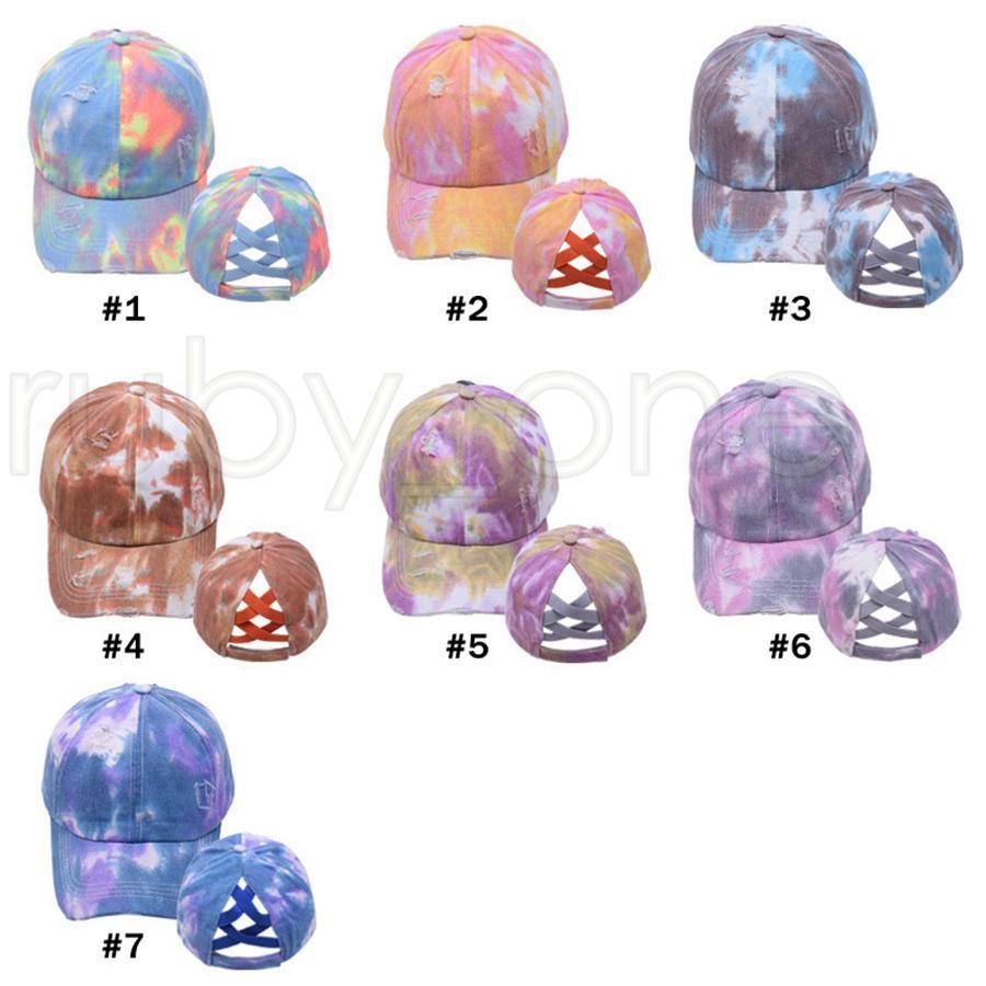 Tie Dye Ponytail Baseball Caps Washed Trucker Hats Criss Cross Pony Cap Outdoor Visor Snapbacks Caps Party Hats 7styles RRA4047
