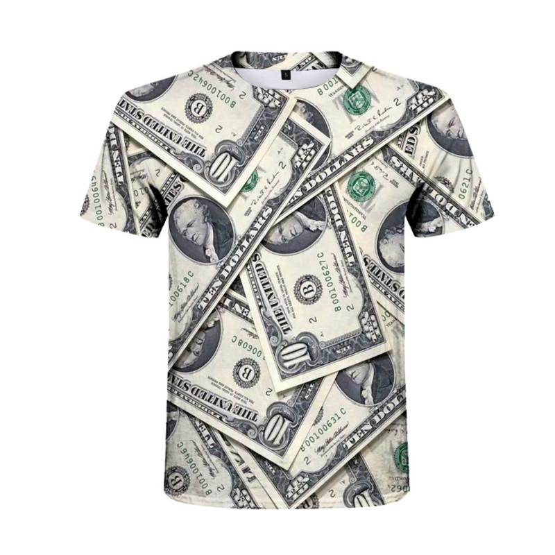 Yeni Ürün Doları Yaratıcı T-shirt Erkek Hip-Hop Kısa Kollu Yaz Moda T-Shirt Yakışıklı Kişilik Casual Erkek Gömlek