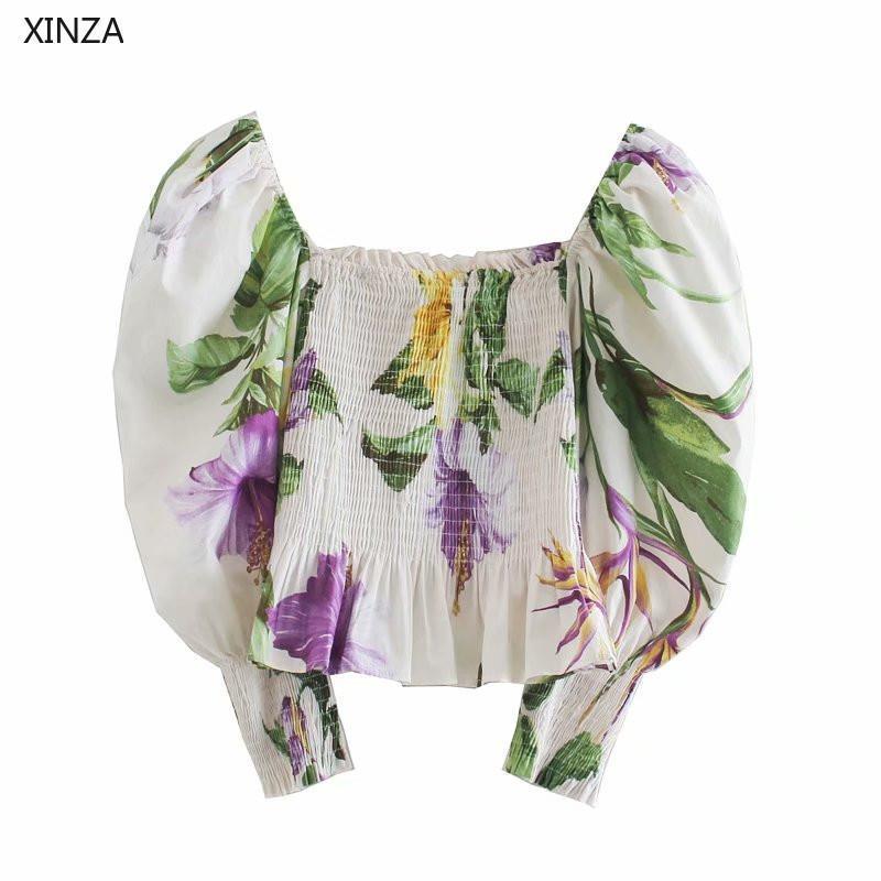 Mujeres Floral Print Top Straight Straight Blusa Blusa de moda Smocked Smocked Elastic Hem Elegant Woman Summer Shirt