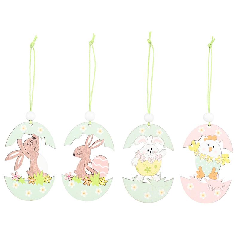 Feliz Pascua de madera conejito de pascua conejo conejo colgante artesanía bricolaje colgante ornamento decoración de fiesta suministros niños regalo JK2102XB