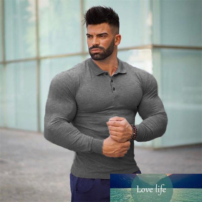 Brand long sleeve business mens shirts male solid color gym shirt cotton Fitness men polos camisa Sportswear jersey