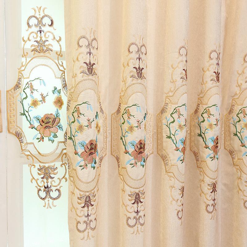 Vorhangvorhänge europäischen Stil Vorhänge für Wohn-Esszimmer-Schlafzimmer Chenille-Stickerei Morden Tulle Fertigprodukt Anpassung