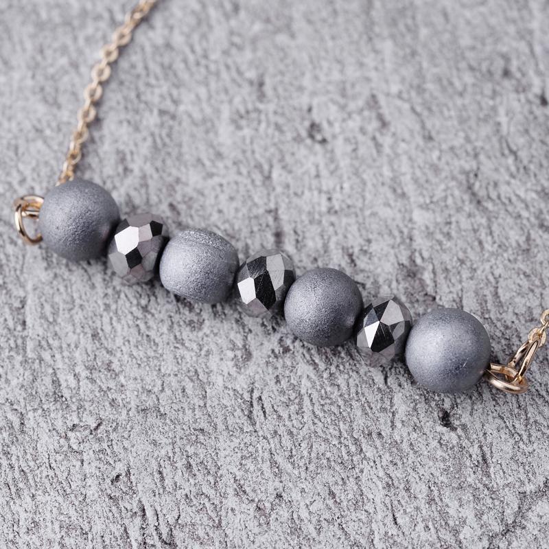 Кулон ожерелья Bojiu Choker для женщин короткое ожерелье натуральный камень красочный кристалл с медной цепью NKS015