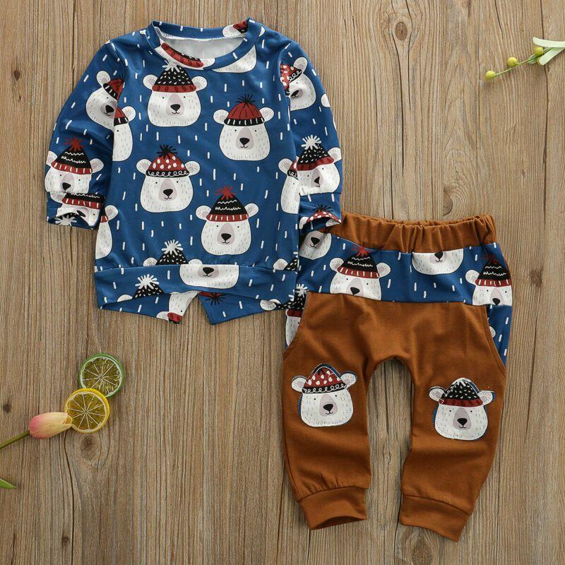 Neugeborene Säuglings Baby Boy Zwei Teile Set Langarm Bär Top Hose Säuglingsmädchen Kleidung Sets Leggings Winter Outfit Kleidung